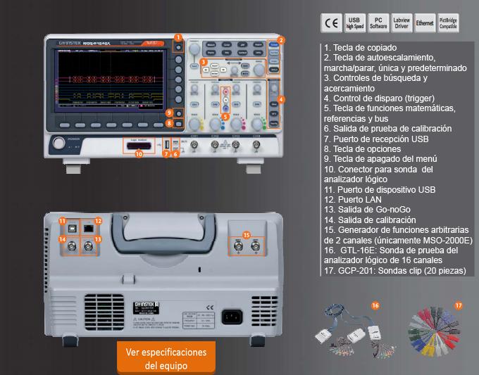 Nueva serie de osciloscopios MSO-2000 con generador de funciones arbitrarias